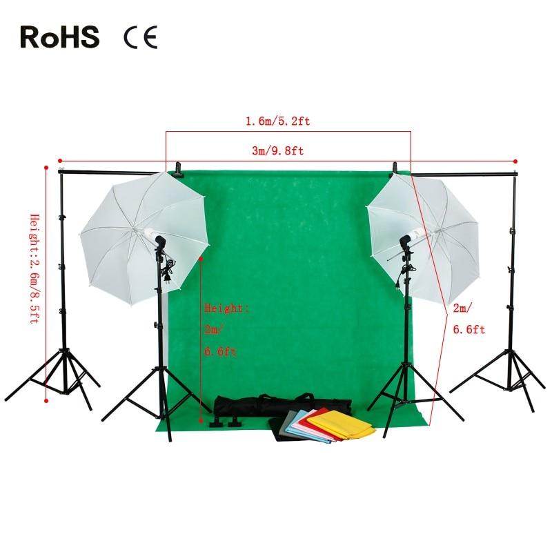 Photography Studio Set:Soft Light Umbrella&Soft Light Umbrella&non-woven backdrops(7 color)&Carrying Bag For