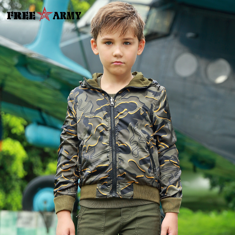 Autumn Spring Jacket Reversible Girls Kid Jackets Boys Coats Sport Military Casual Camouflage Outerwear & Coats Fashion Children