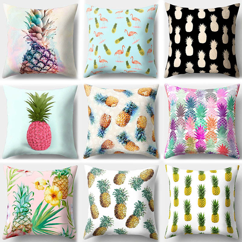1Pcs Pineapple Fruit Pattern Polyester Throw Pillow Cushion Cover Car Home Decor Decoration Sofa Bed Decorative Pillowcase 40509