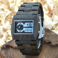 BEWELL 2016 Wood Watch Men Quartz Watches Dual Time Zone Wooden Wristwatch Rectangle Dial Relogio LED Digital Watch Box 021A