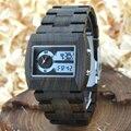 Bewell 2016 hombres relojes de cuarzo reloj dual time zone reloj de pulsera de madera de madera del rectángulo dial relogio reloj digital led caja 021a