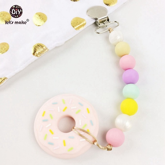 3pcs Silicone Donut Teething Pacifier Clip Food Grade Teether Chewable Beads Sensory Toys Baby Accessories Activity Gym Toy