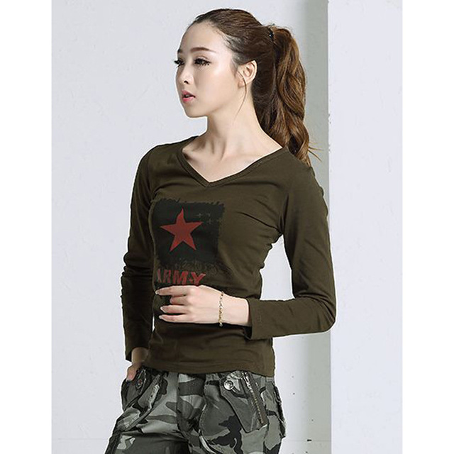Army green t-shirts for women Camouflage tops letter Print Cotton military  Casual t-shirt Plus size women Long Sleeve Tees a2d92b193f