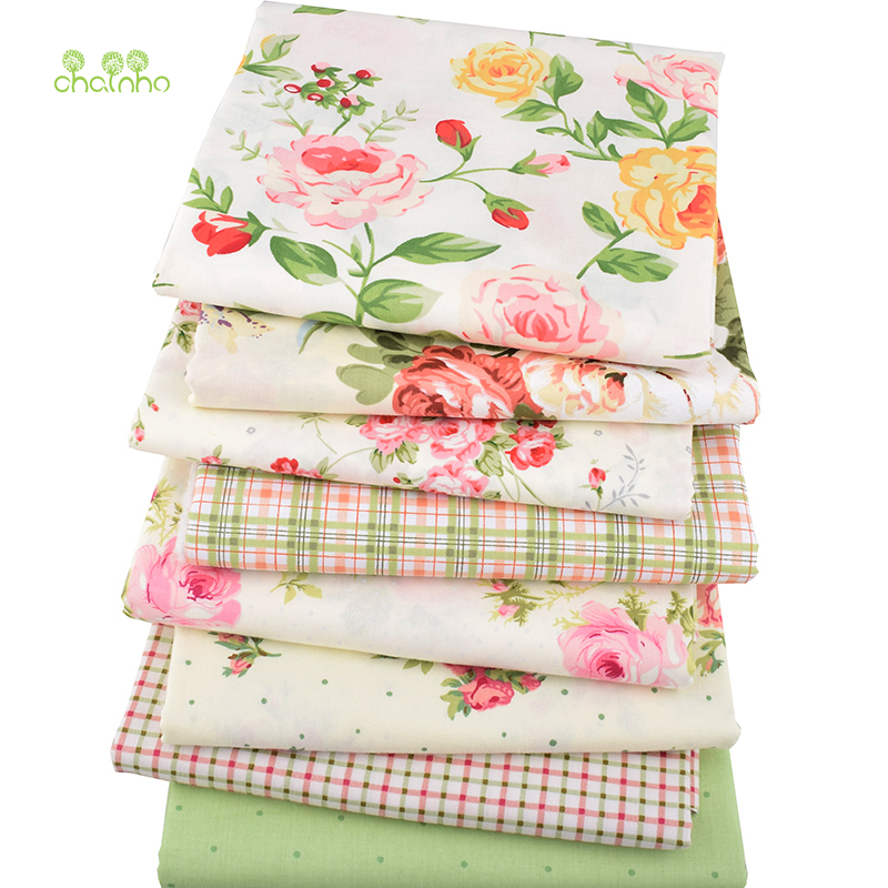 Chainho, 8 unids/lote, Rosa impreso tejido de algodón, patchwork tela para DIY que acolcha el bebé y hojas de los niños Material del vestido