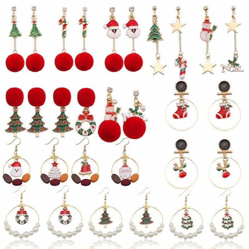 Trendy Red Pompom Earrings Star Long Earrings For Women Christmas Tree Wreath Pearl Bead Santa Claus Snowman Earrings Xmas Gift