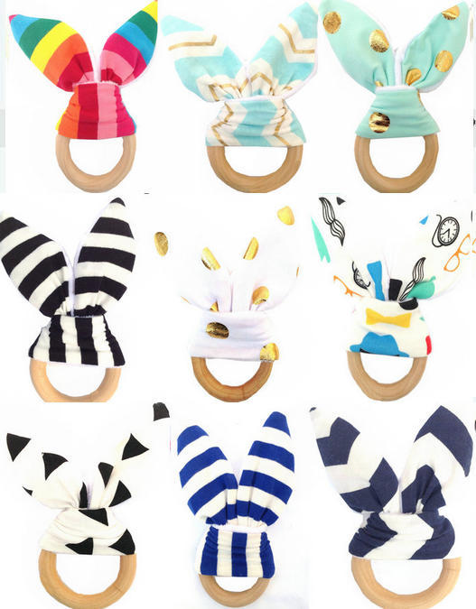 Baby Teething Ring Teether Safety Wooden Natural Bunny Sensory Toy Gift
