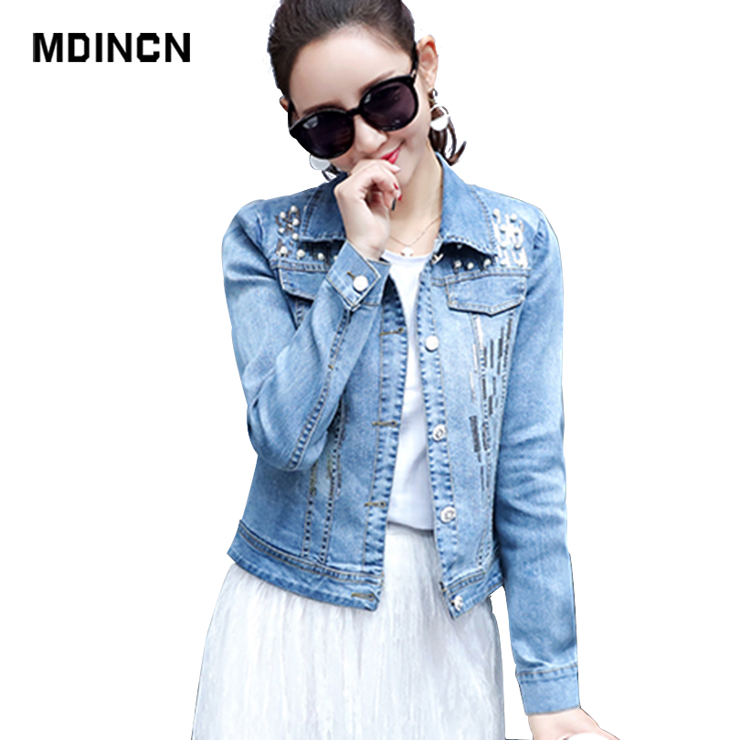 MDINCN Stand Long Sleeve Denim   Jackets   Loose Cotton Outerwear Pockets Vintage Women Bomber Femme Casual   Basic     Jacket   Coat