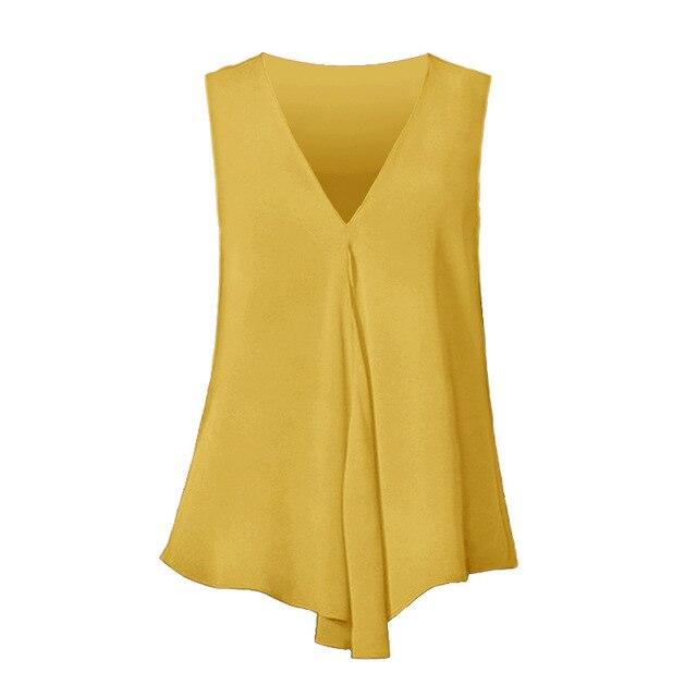 Fashion Women Chiffon Blouses Ladies Tops Sleeveless V Neck Shirt Blusas Femininas Plus Size S-6XL Female Solid Color Clothing 4