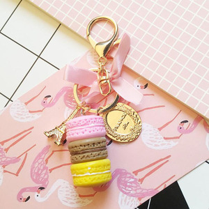 Image 3 - 10pcs/lot Girls Fashion Jewelry Keychains Macaroon Cake Model Pendant Key Ring Bags Ornament Keychain For Women Accessories