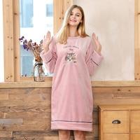 Women Coral Fleece Sleep Dress Winter Warm Sleepwear Embroidery Cute Cat Cartoon Nightgowns Polyester Round Neck Sleep Skirt