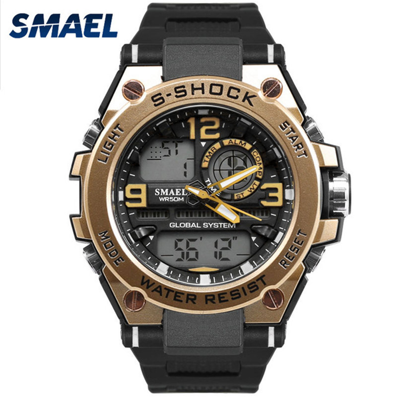 SMAEL New Top Brand Luxury Men Digital Watches Dual Display Dial S Shock Outdoor Waterproof Sport Male Clock relogio masculino weide popular brand new fashion digital led watch men waterproof sport watches man white dial stainless steel relogio masculino