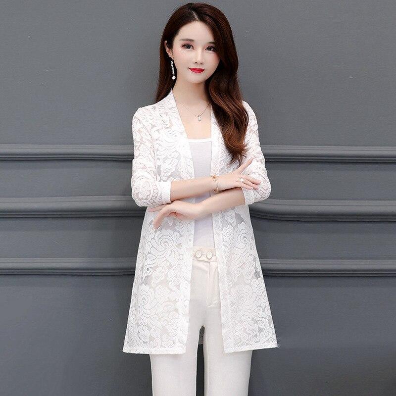 Plus Size 5XL Summer Bohe Long Sleeve Elegant Lace Kimonos Women Bohe Lace Beach Sunproof Kimonos Kimonos Lace Office Blouse