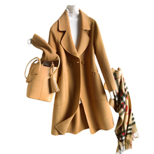 цены Winter women's new cashmere coat quality solid color V-neck loose simple soft comfortable warm coat-Free shipping