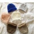 Mohair Silk Baby Hat, Newborn Photo Prop Hat, Newborn Baby Top Knot Hat, Newborn Photography Prop Hat