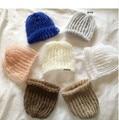 Mohair seda chapéu do bebê, Recém-nascido foto Prop hat, Bebê recém-nascido Top Knot chapéu, Recém-nascido fotografia Prop Hat