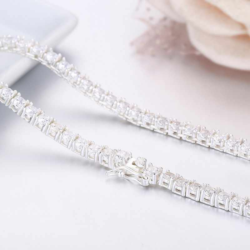 60cm 3mm 925 Sterling Silver Tennis Zirconia Stones Chain Necklace For Women Girls Men Jewelry Collier Collares Kolye Ketting