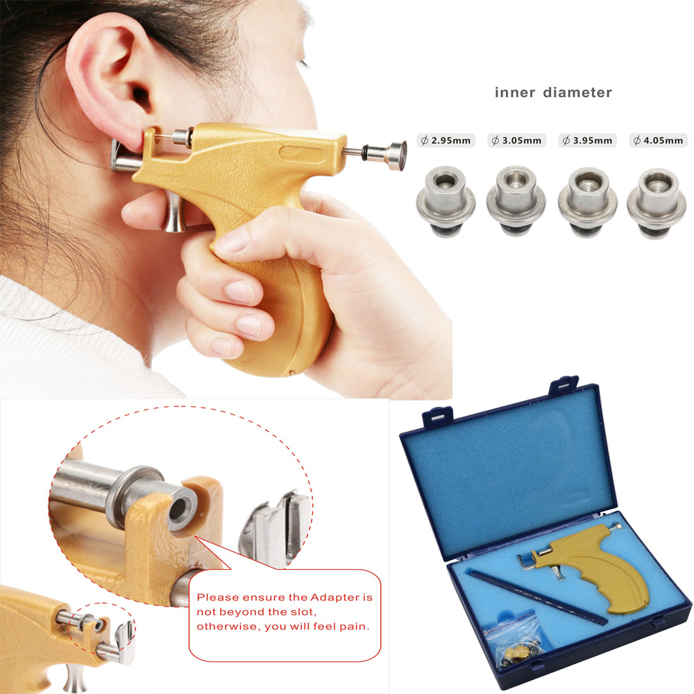 Professional Ear Piercing Gun Stainless Steel Safe Sterile Ear Nose Navel Body Piercing Gun Tool Kit Set For Good Packing stainless steel ear lip navel nose tongue septum sponge forceps clamp body piercing pliers tool