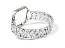 XG500 38mm Stainless Steel Crystal Rhinestone Diamond Watch Band Luxury Stainless Steel Bracelet Strap for fitbit Watch