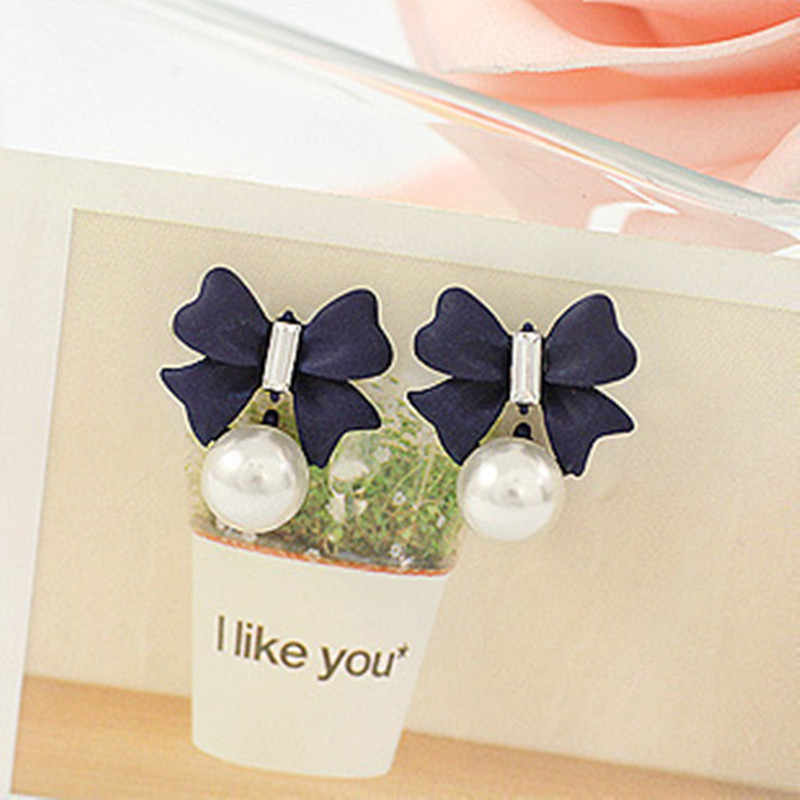 Fashion Jewelry blue black Color Butterfly Stud Earrings Cute pearl Stud Earrings for Women Ear Accessories Wholesale