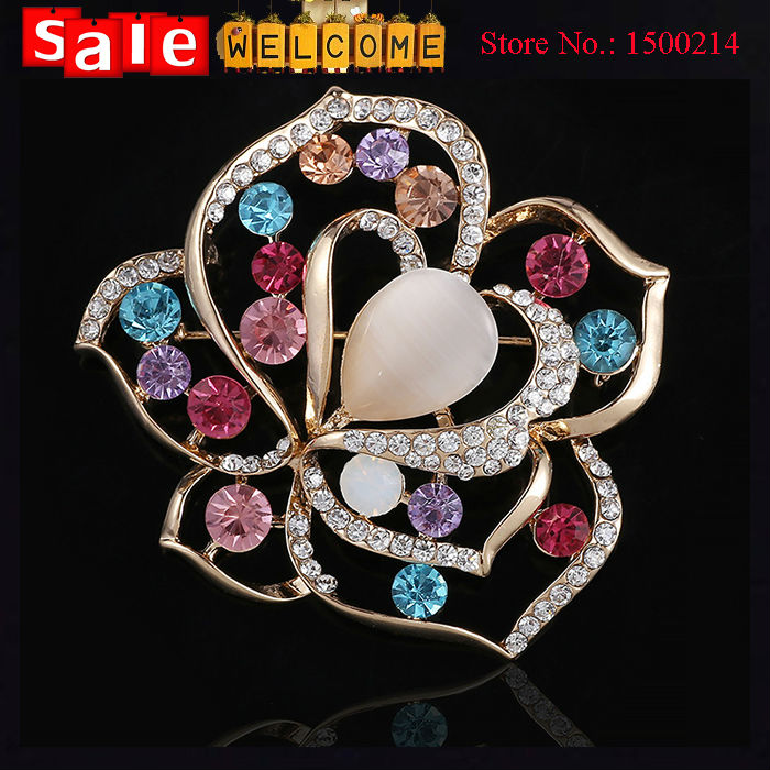 Statement Colorful Big Opal Flower Hollow Golden Brooch Lapel Pin Scarf Buckle Scarf Pin Collar Clip Corsage for Women Wholesale