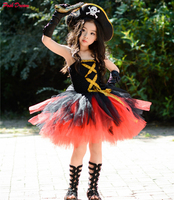 POSH DREAM New Halloween Pirates Kids Girls Costume Costume with Hat Pirates Tutu Dressed Up Black Toddler Girls Cosplay Clothes