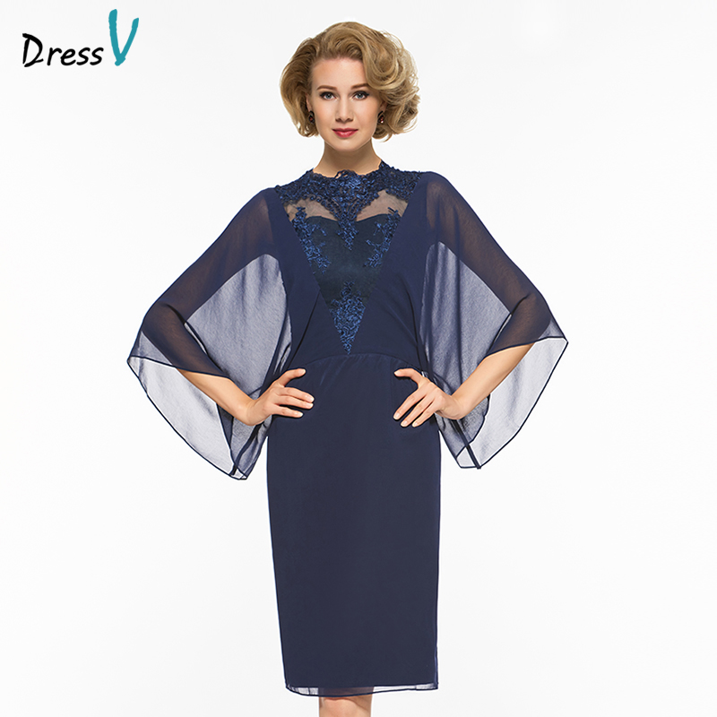 Dressv Jewel Neck Sheath Knee Length Mother Of The Bride Dress Three Quarter Sleeves App ...