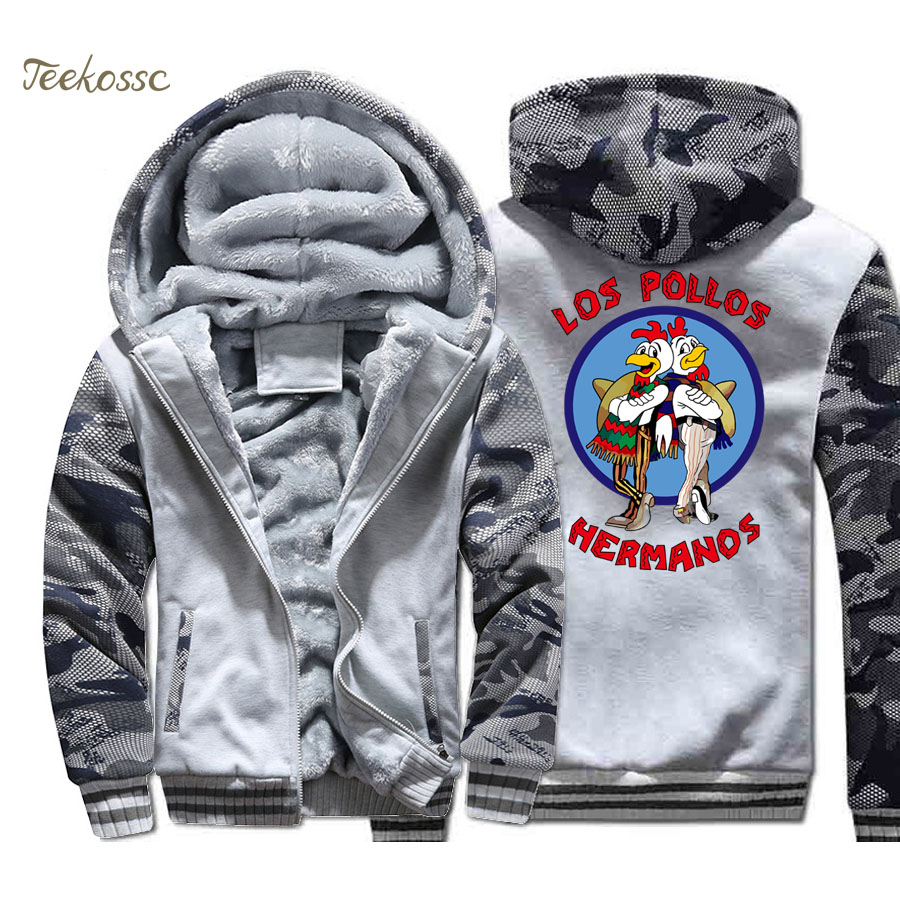 Breaking Bad Hoodie Men LOS POLLOS Hermanos Hooded Sweatshirt Chicken Brothers Coat 2018 Winter Thick Fleece Warm Hipster Jacket in Hoodies amp Sweatshirts from Men 39 s Clothing