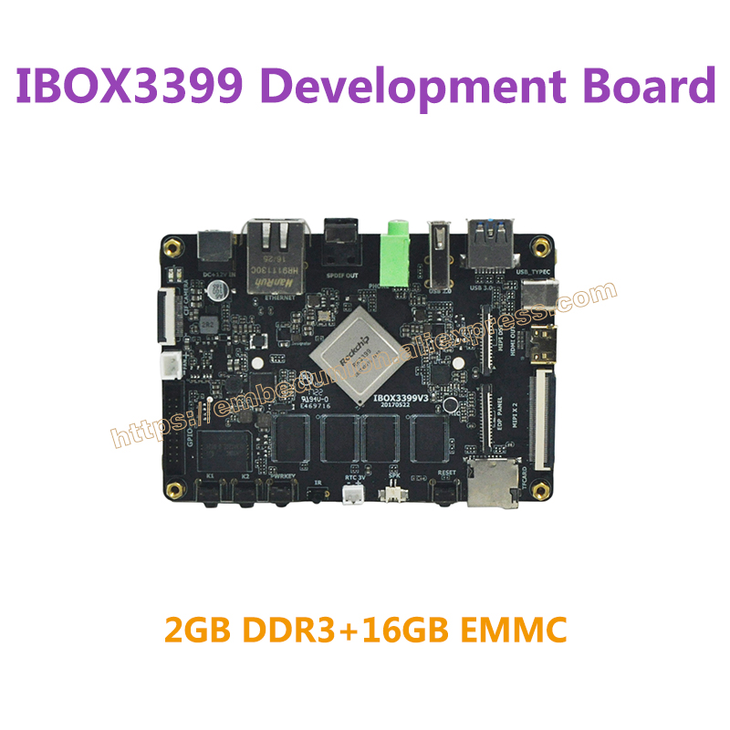 Совет по развитию IBOX3399 RK3399 ядра Cortex-А72 рука*2+Cortex-А53*4,2.0 ГГц*2+1.5 ГГц*4,2 ГБ оперативной памяти,16 Гб emmc