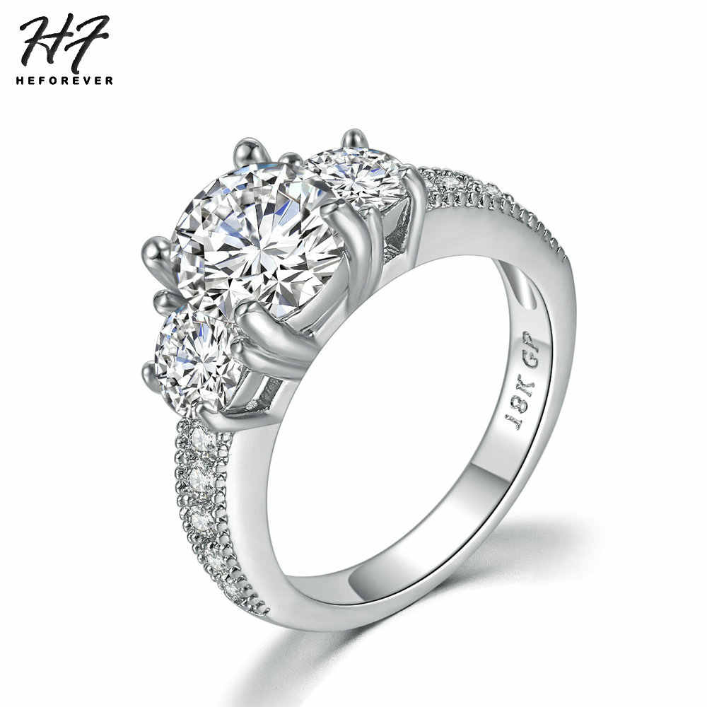 Wedding Rings For Women Classic Style Four Claw Round Cut Cubic
