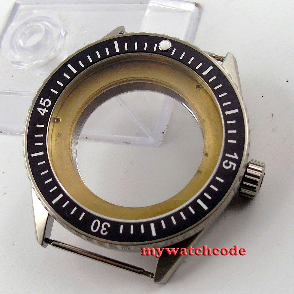 лучшая цена 43mm black ceramic bezel sapphire cystal Watch Case fit ETA 2824 2836 MOVEMENT82
