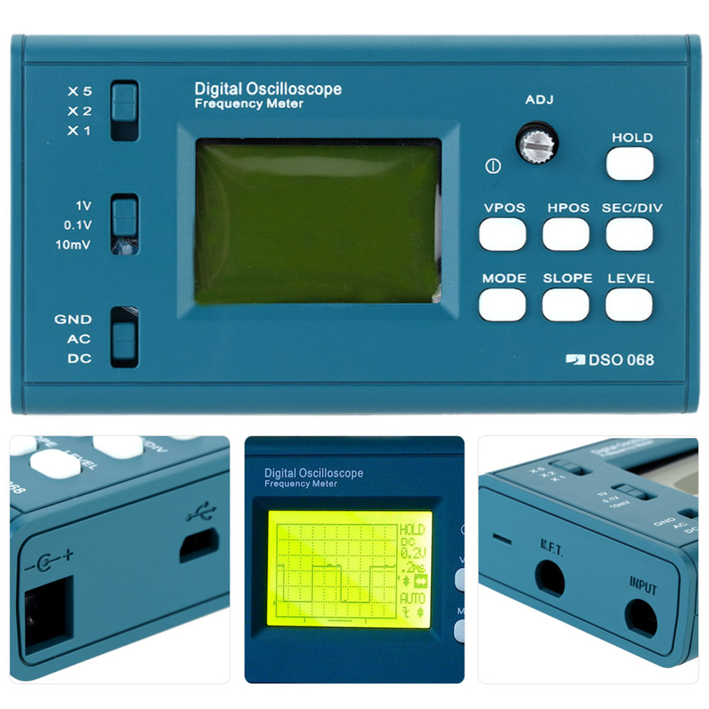 DSO068 Oscilloscope Digital Storage Oscilloscope DIY Kit Disassembled Parts with LCD 20MHz Probe Teaching Set
