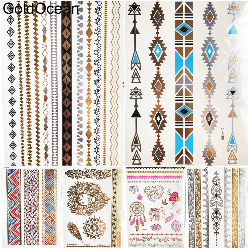 Geometric Bracelet Gold Metallic Temporary Tattoo Body Arm Art Fake Jewelry Waterproof Tattoo Girl Wrist Chain Flash Tatoo Women