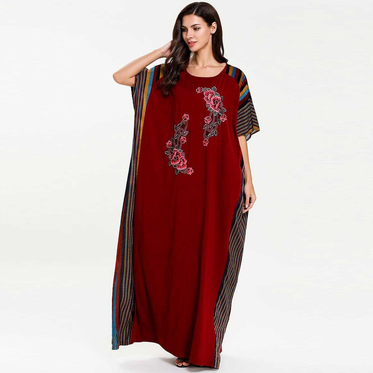 a99cf7267b02d 2019 Summer Batwing Sleeve Women Floral Embroidery Muslim Dress Colored  Stripe Patchwork Islamic Abaya Dubai Arab Gown VKDR1617