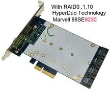 Quad SATA III Port RAID PCIe Card HyperDuo 4 Ports SATA 6Gbps 3 0 SSD HDD