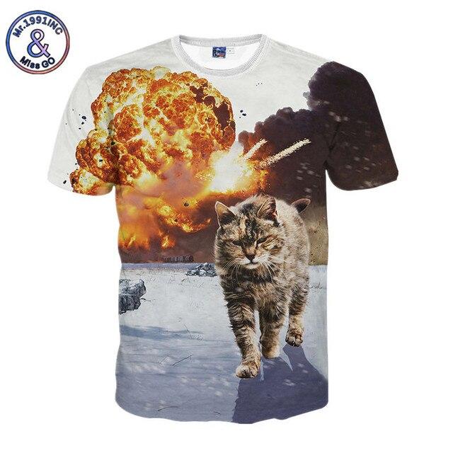 e4004255e450d Mr.1991 INC Summer Fashion Women Men T-shirt Animal Funny 3D Print  Explosion Cat T shirt Camisa Masculina Brand Clothing S-XXL