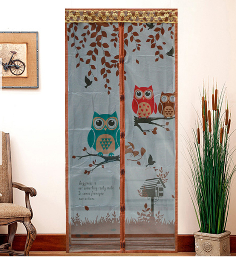 Owl Curtain Anti Mosquito Magnetic Tulle Shower Curtain Automatic Closing  Door Screen Summer Style Mesh Net 90 /100 X 210 CM