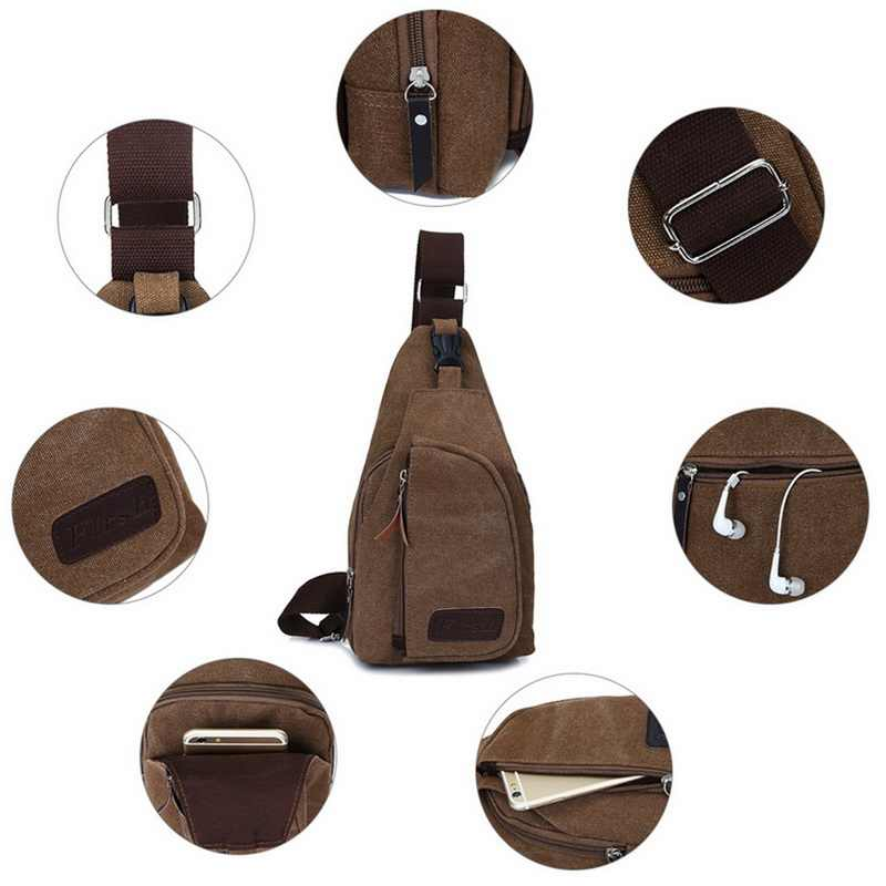 2019 Nova Marca Homens Mochila De Couro da Lona Do Vintage Ombro Sling Peito Embalagem Bag Bolsa