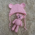 2017 Baby Photograph Prop Newborn Hat And Handmade Bear Doll Crochet Infant Ear Cap