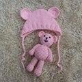 2017 chapéu do bebê fotografia prop newborn e artesanal boneca urso crochet infantil ouvido cap