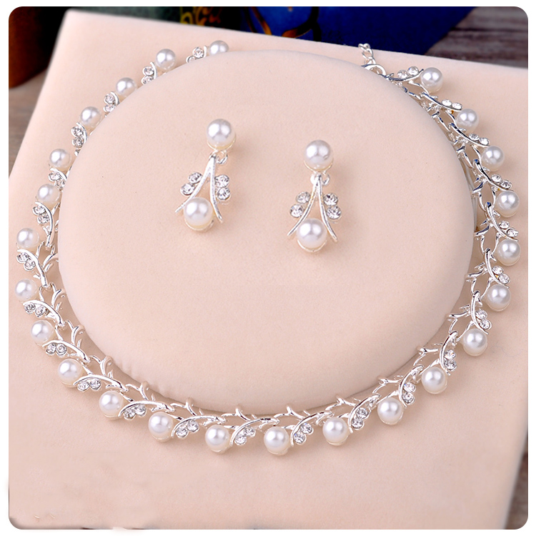 Bridal Necklace Pearl Korean Princess Perform White Accessory Sweet Beautiful Women Jewelry Wedding Necklace Earrings Sets все цены