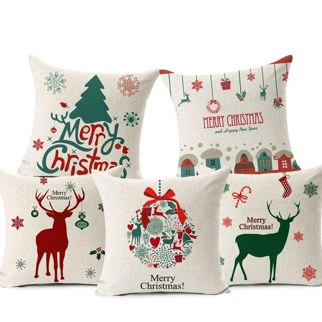 Buon Natale! Fodere per Cuscini Let it Snow Cervo di Natale Babbo natale Calzini