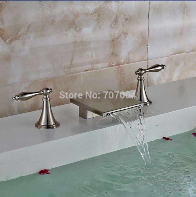 Luxury Deck Mounted Two Handles Waterfall Bathroom Basin Faucets Brushed Nickel 3pcs Basin Mixer