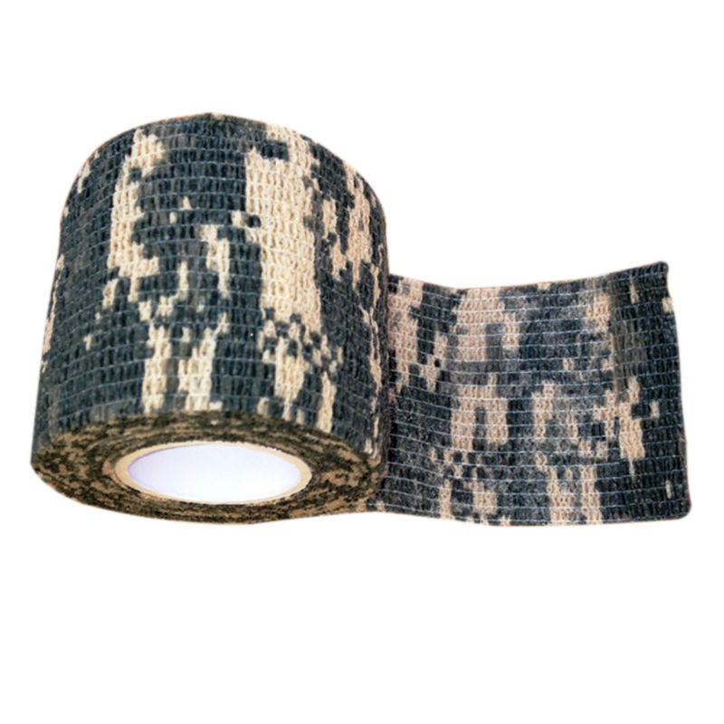 Outdoor Retractable Camouflage Tape Camo Self-adhesive Non-woven Fabric Wrap - Desert Camo bike bicycle anti skid non slip handlebar tape belt wrap w bar plug camouflage black white