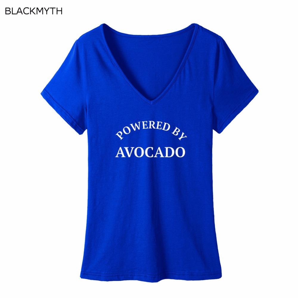 c260fc71fa7de BLACKMYTH New Arrival Women's Funny Clothes Black T shirt POWERED BY AVOCADO  Printing V neck Tops Pullovers Harajuku-in T-Shirts from Women's Clothing  on ...