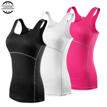 New Yoga Tops Women Sexy Gym Sportswear Vest Fitness tight woman clothing Sleeveless Running shirt Quick Dry White Yoga Tank Top(China)