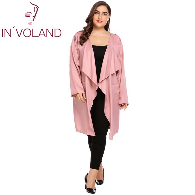b27866d44f91f IN VOLAND Women Cardigan Sweater Tops Plus Size 3XL Autumn Casual Long  Sleeve Open Front Draped Long Trench Jacket Coat Oversize