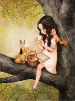High Quality Room Decor Gift DIY 5D Cartoon Girl Diamond Painting Forest Girl Series Pictures Cross