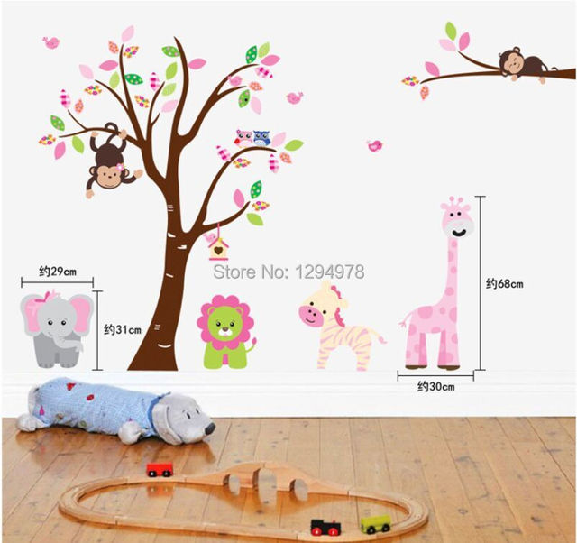 AY216AB Wall Stickers Jungle 2pcsu003d1set Cartoon DIY Monkey Owl Tree Nursery  Decor Home Mural