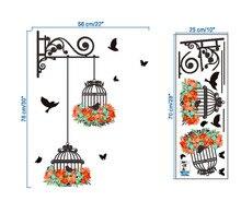 Лучший!  Птичья клетка декоративная роспись спальня гостиная тв настенные наклейки росписи X7.19