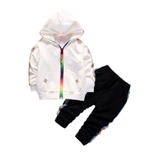 2019 NEW Autumn Toddler Tracksuit Baby Clothing Sets Children Boys Girls Clothes Kids Cotton Hooded Zip Jacket Pants 2 Pcs Suits стоимость